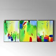 מצויר ביד מופשט / טבע דומם ציורי שמן,קלאסי / סגנון ארופאי שלושה פנלים בד ציור שמן צבוע-Hang For קישוט הבית