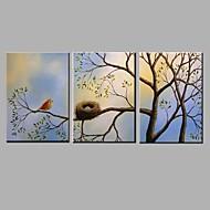 Pintados à mão Paisagem / Animal Pinturas a óleo,Modern / Pastoril 3 Painéis Tela Hang-painted pintura a óleo For Decoração para casa