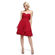 TS Couture® Cocktail Party A-line Sweetheart Knee-length Chiffon/Lace With Criss Cross/Side Draping