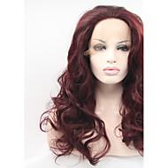 Naisten Synteettiset peruukit Lace Front Pitkä Luonnolliset aaltoilevat Tumma kastanja Luonnollinen hiusviiva Luonnollinen peruukki
