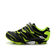 Men's Athletic Shoes Fall Comfort Leather Athletic Flat Heel Lace-up Green / Orange Cycling