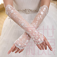 Elbow Length Fingerless Glove Lace Bridal Gloves Spring / Summer / Fall / Winter Embroidery / lace