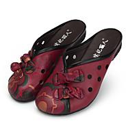 Damen-Sandalen-Lässig-Leder-Flacher Absatz-Komfort-Schwarz Rot