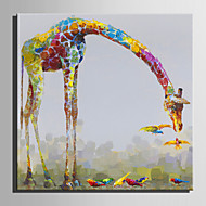 Mini Size E-HOME Oil painting Modern Giraffe Pure Hand Draw Frameless Decorative Painting