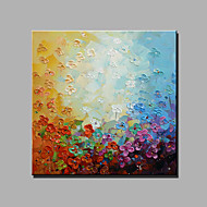 Hand-Painted Abstract Floral/Botanical Square,Modern Classic One Panel Canvas Oil Painting For Home Decoration