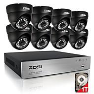 zosi® 8-kanals 720p hdmi CCTV-system videooptager 1TB 4stk 720p hjem sikkerhed kamera vandtæt overvågning kits