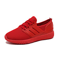 Damen-Sneaker-Sportlich-Tüll-Flacher Absatz-Komfort-Schwarz Rot