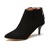 Women's Heels Spring Fall Winter T-Strap Microfibre Office & Career Dress Casual Stiletto Heel Zipper Black Walking