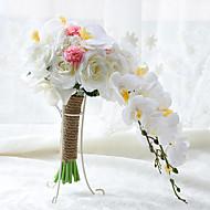 Svatební kytice bez formy kaskády Růže Lilie Pivoňky Kytice Svatba Párty / večerní akcePolyester Satén Taft Krajka elastan sušené květiny