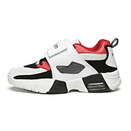 Women's Athletic Shoes Spring Summer Fall Winter Comfort PU Athletic Flat Heel Magic Tape Red Black and White
