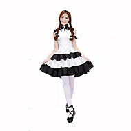 Cosplay Costumes Party Costume Maid Costumes Career Costumes Festival/Holiday Halloween Costumes White Black Solid DressHalloween