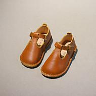 Jente Baby Flate sko Lær Høst Avslappet Spenne Flat hæl Svart Gul Rød Flat