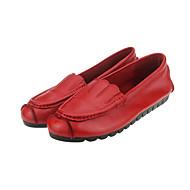 נשים-נעליים ללא שרוכים-עור-בלרינה-שחור / צהוב / אדום-שטח / משרד ועבודה / קז'ואל