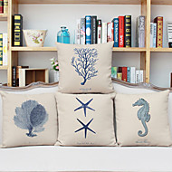 Set of 4 Ocean Marine Heavy Wind Series Pillow Nordic Animal Series Pillow Pillow Linen Composite Material