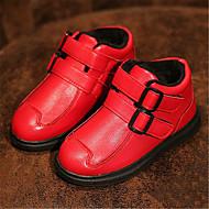 Kényelmes-Lapos-Női cipő-Csizmák-Alkalmi-Bőrutánzat-Fekete / Piros
