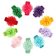 11pcs / set bebés chiffon faixa de cabeça flor com ampla heaband elástica todder hairband acessórios de cabelo infantil