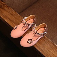 Para Meninas-Rasos-Conforto Light Up Shoes-Rasteiro-Branco Fúcsia Rosa claro-Couro Ecológico-Casual