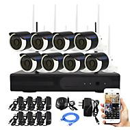 yanse® plug and play 8 csatornás vezeték nélküli NVR kit p2p 960p HD ir éjjellátó biztonsági kamera ip wifi cctv rendszer