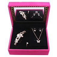 Women's Alloy Quartz AAA Zircon Gold Silver Brand Bracelet Watch Necklace Earrings Jewelry Set