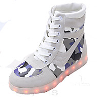 Unisex Sneakers Spring Fall Winter Crib Shoes Ankle Strap Light Up Shoes Comfort Suede Casual Athletic Flat Heel Lace-up Black White