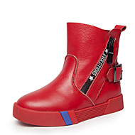 Girl's Boots Winter Comfort Patent Leather Casual Flat Heel Zipper Black Pink Red Other