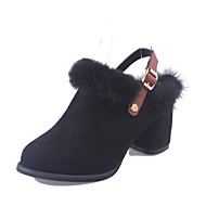 Women's Boots Spring Comfort Cashmere Casual Chunky Heel Buckle Black Green Walking