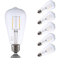 2W E26 LED filament žarulje ST21 2 COB 220 lm Toplo bijelo Ukrasno / Može se prigušiti AC 110-130 V 6 kom.
