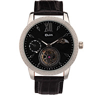 Oulm Men's Fashion Automatic Watches Wrist Genuine Leather Round Alloy Dial Casual Watch Cool Watch Unique Watches