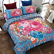 bedtoppings 4pcs mis queen 1 couette couverture couette couette / 1 feuille plate / 1 taie conception fixe poly style bohème