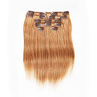 7 ks / set klip na prodlužování vlasů kaštanově hnědá 14inch 18inch 100% lidské vlasy pro ženy