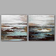 Pintada a mano Abstracto / Paisajes Abstractos Pinturas de óleo,Modern / Clásico Dos Paneles Lienzos Pintura al óleo pintada a colgar For