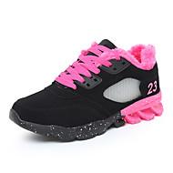Dame-PU-Flat hæl-Komfort-Sneakers-Friluft-Svart / Rød