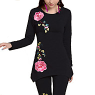 Mujer Simple Casual/Diario / Tallas Grandes Otoño Camiseta,Escote Redondo Floral Manga Larga Otro Blanco / Negro Medio