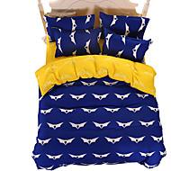 Nyhet Sengesett 4 deler Polyester Mønster Reaktivt Trykk Polyester Dobbel / Full / Queen / King 4stk (1 Dynebetræk, 1 Lagen, 2 Pudebetræk)