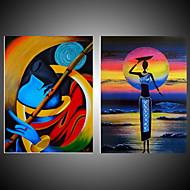 Ručně malované Abstraktní / Krajina olejomalby,Moderní Dva panely Plátno Hang-malované olejomalba For Home dekorace