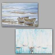 Peint à la main Abstrait / Paysage Peintures à l'huile,Modern / Classique Deux Panneaux Toile Peinture à l'huile Hang-peint For