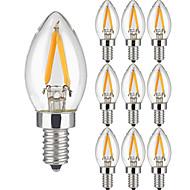 2W E14 Izzószálas LED lámpák 2 COB 200 lm Meleg fehér AC 220-240 V 10 db.