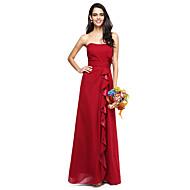 2017 Lanting Bride® Floor-length Chiffon Elegant Bridesmaid Dress - Strapless Plus Size with Ruffles