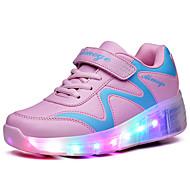 Jungen-Sportschuhe-Outddor Lässig Sportlich-PU-Keilabsatz-Komfort Light Up Schuhe-Blau Rosa