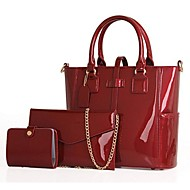 Damen Bag Sets PU Schwarz Purpur Rot Blau