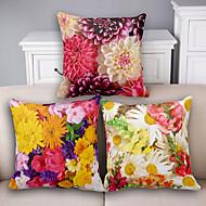 3 pcs Algodão/Linho Cobertura de Almofada / Fronha,Floral Moderno/Contemporâneo / Tom/Decoração