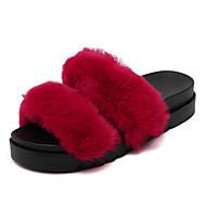 Feminino-Chinelos e flip-flops-Chanel-Plataforma-Preto / Vermelho / Cinza-Pêlo-Casual