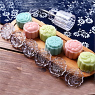 7Pcs/lot Acrylic Hand Pressing 50g Round Moon Cake Mold Belt 6 Stamps Cookie Cutter Pastry Moon Cake Molds