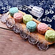 7pcs / lot acrílico pressão de mão 50g de bolo da lua rodada cinto molde 6 selos moldes do bolo cortador de biscoitos de pastelaria Lua