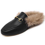 Women's Clogs & Mules Spring / Fall / Winter Comfort Leather Outdoor / Casual Flat Heel Fur Black Walking