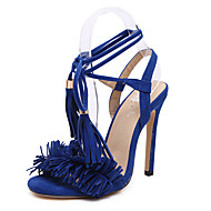 Feminino-Sandálias-Tira no Tornozelo-Salto Agulha-Azul / Cinza-Flanelado-Escritório & Trabalho / Social / Casual