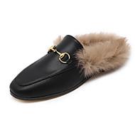 Feminino Sapatos Courino Inverno Rasos Rasteiro Ponta Redonda Para Casual Preto