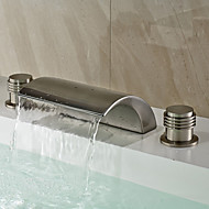 Traditional Widespread Waterfall with  Ceramic Valve Two Handles Three Holes for  Nickel Brushed , Bathroom Sink Faucet