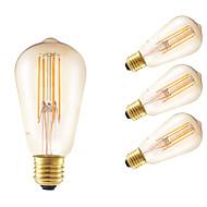 6W E26/E27 LED filament žarulje ST58 4 COB 550 lm Jantarno Može se prigušiti / Ukrasno AC 220-240 V 4 kom.