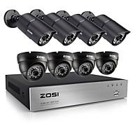 8pcs DVR CCTV 720p zosi®8ch 1.0mp מערכת מצלמת אבטחה עם דיסק קשיח 1TB